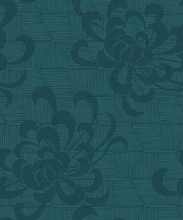 大まかなストライプ テクスチャ緑のアスターの花。シームレス パターン。花柄生地のコレクションです。