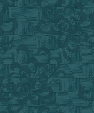 Aster flower with rough striped texture green.Seamless pattern. Floral fabric collection.