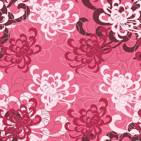 アスターの花の白とピンクの赤。シームレス パターン。花柄生地のコレクションです。