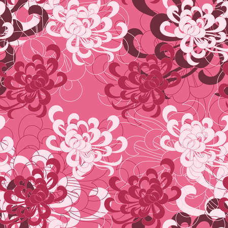 aster: Aster flower white and red on pink.Seamless pattern. Floral fabric collection.