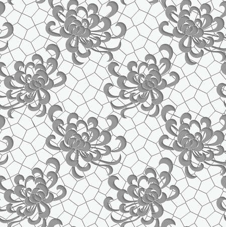 aster: Aster flower 3D perforated paper with net.Seamless pattern.