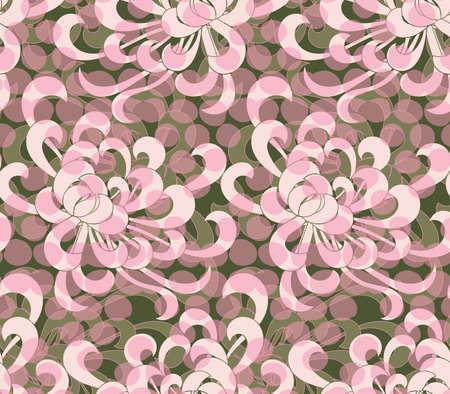 アスターの花ピンクのドットを重ねること。シームレス パターン。花柄生地のコレクションです。  イラスト・ベクター素材