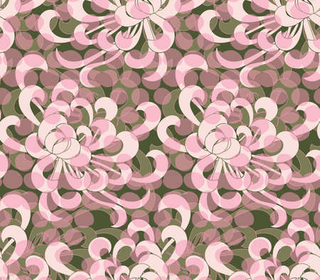 Aster flower pink with overlaying dots.Seamless pattern. Floral fabric collection. Ilustracja
