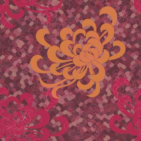 アスターの花オレンジと色のモザイクの赤。シームレス パターン。花柄生地のコレクションです。
