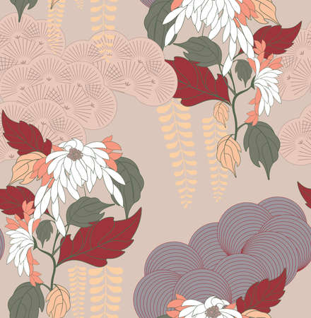 Aster flower Japanese garden light.Hand drawn floral seamless background.Botanical repainting design for fabric or textile.