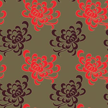 赤と緑に茶色のアスターの花。シームレス パターン。花柄生地のコレクションです。  イラスト・ベクター素材
