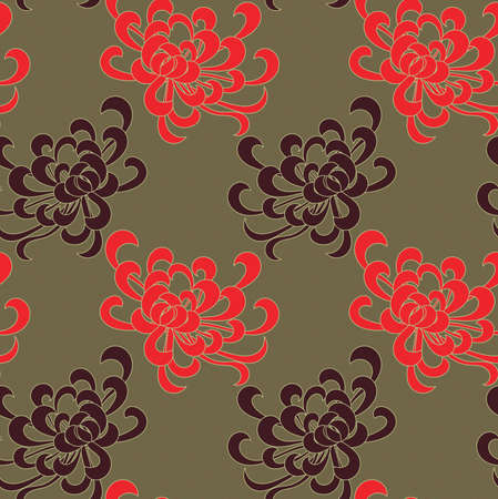 Aster flower red and brown on green.Seamless pattern. Floral fabric collection. Ilustracja
