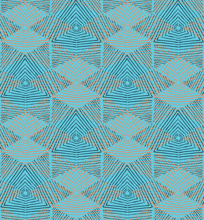Hand hatched diamonds with blue.Hand drawn seamless background.Rough hatched pattern. Fabric design. Illustration