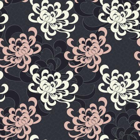 アスターの花黒の重複。シームレス パターン。花柄生地のコレクションです。