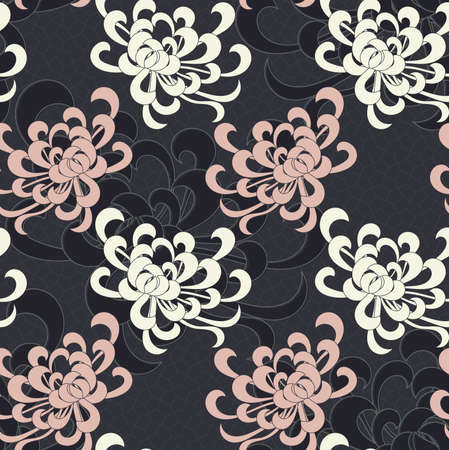 Aster flower overlapping on black.Seamless pattern. Floral fabric collection.