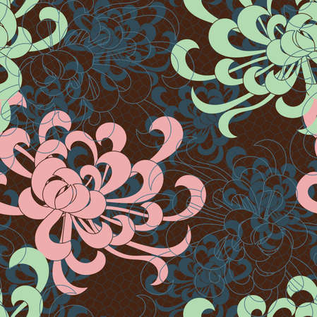 Aster flower overlapping on brown.Seamless pattern. Floral fabric collection.
