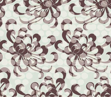 アスターの花ドットを重ね合わせると茶色。シームレス パターン。花柄生地のコレクションです。