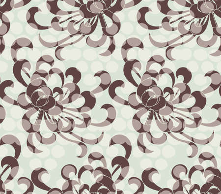 aster: Aster flower brown with overlaying dots.Seamless pattern. Floral fabric collection. Illustration