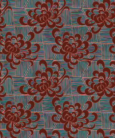 aster: Aster flower with rough striped texture green and brown.Seamless pattern. Floral fabric collection.