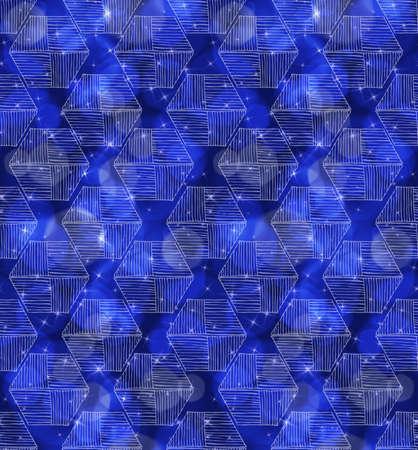 ボケ味の青い星と六角形。シームレス パターン。ピンぼけ光効果とパターン。カラフルな背景。