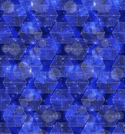 Bokeh blue stars and hexagons.Seamless pattern.Pattern with bokeh light effect.Colorful background.