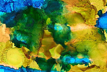 Abstract bright blue yellow mustard with texture.Colorful background hand drawn with bright inks and watercolor paints. Color splashes and splatters create uneven artistic modern design.