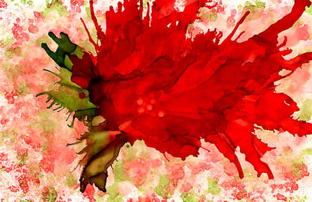 Abstract big red flower on texture.Colorful background hand drawn with bright inks and watercolor paints. Color splashes and splatters create uneven artistic modern design.
