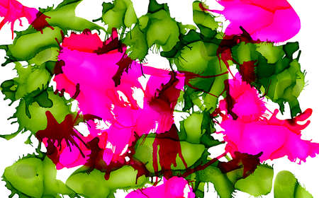Paint spots green pink uneven on white.Colorful background hand drawn with bright inks and watercolor paints. Color splashes and splatters create uneven artistic modern design. Stock fotó - 75051869