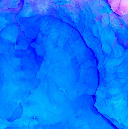 Abstract raster blue and small pink corner.Colorful background hand drawn with bright inks and watercolor paints. Color splashes and splatters create uneven artistic modern design.