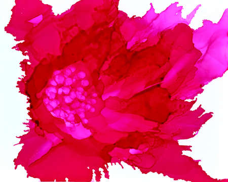 Pink flower.Bright background hand drawn with pink inks and watercolor paints. Color splashes and splatters create abstract flower.