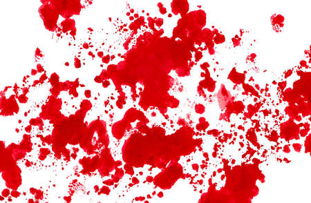 Paint spots small red on white.Colorful background hand drawn with bright inks and watercolor paints. Color splashes and splatters create uneven artistic modern design. Stock Photo
