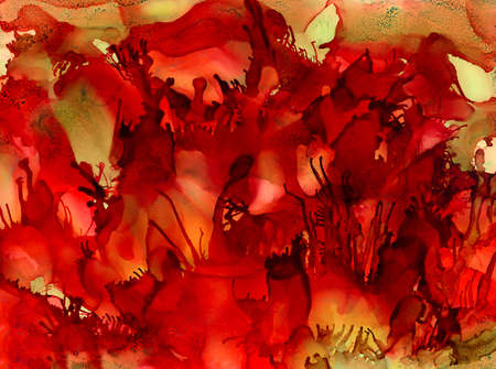Abstract textured red earth green.Colorful background hand drawn with bright inks and watercolor paints. Color splashes and splatters create uneven artistic modern design. Stock Photo
