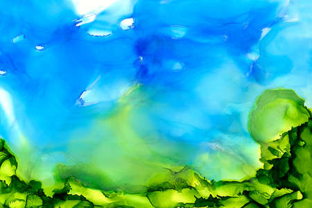 Abstract painted blue with green bottom.Colorful background hand drawn with bright inks and watercolor paints. Color splashes and splatters create uneven artistic modern design. Stock Photo