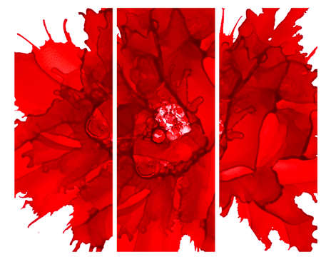 Red flower split vertically.Bright background hand drawn with red inks and watercolor paints. Color splashes and splatters create abstract flower. Stock Photo
