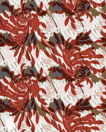 Aster flower brown on hand scribbled background.Seamless pattern.