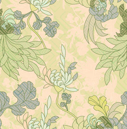 aster: Aster flower light green with geometric pattern.Seamless pattern. Illustration