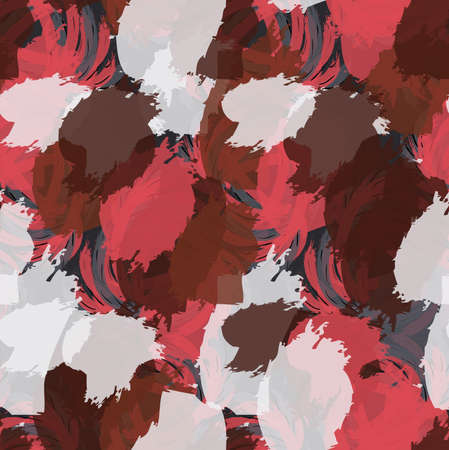 Grungy stains red brown and white.Hand drawn with ink and marker brush seamless background.