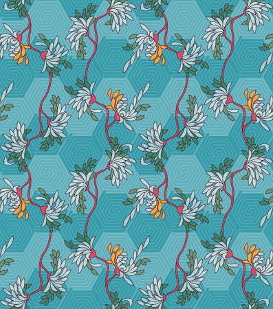 Aster flower on turquoise hexagonal geometric background.Seamless pattern. 矢量图像