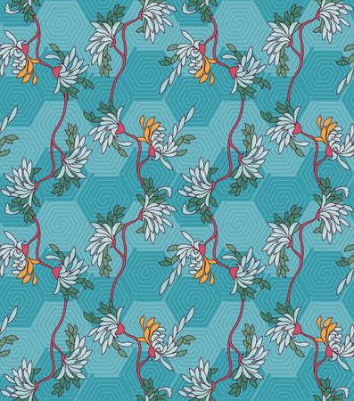 aster: Aster flower on turquoise hexagonal geometric background.Seamless pattern. Illustration