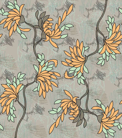 aster: Aster flower yellow on gray with scribble.Seamless pattern. Illustration