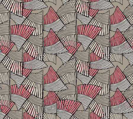 heather: Sea shell peaces in wavy pattern heather pink overlap.Hand drawn with ink seamless background.Creative handmade repainting design for fabric or textile.Geometric pattern made of striped trapezoids forming waves.Vintage retro colors. Illustration