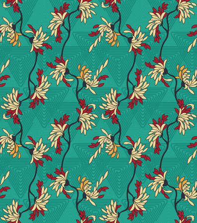 Aster flower on green triangular geometric background.Seamless pattern.