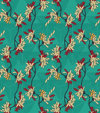 aster: Aster flower on green triangular geometric background.Seamless pattern.