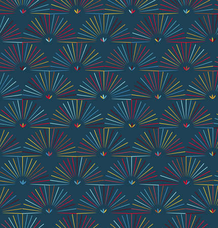 Ray striped half circles on blue background.Seamless pattern for fashion fabric textile. Repainting background in vintage retro colors.