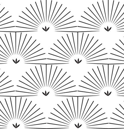 Ray striped half circles.Black and white geometrical repainting pattern. Seamless design for fashion fabric textile. Vector background with simple geometrical shapes.