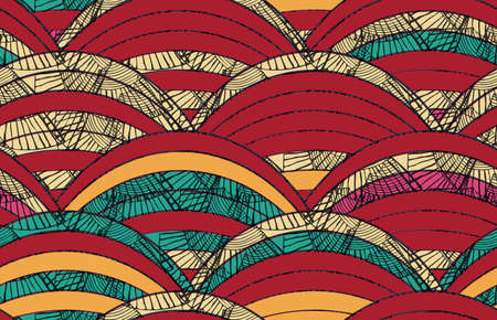 Striped arcs brown orange textured with inked grid.Hand drawn seamless background. Creative handmade design for fabric textile fashion. Japanese motives in vintage retro colors.