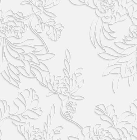 Aster flower white 3d with realistic shadow.Seamless pattern.
