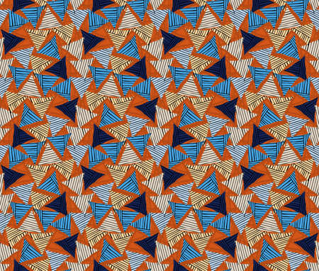 Rough hatched triangles bright on orange.Hand drawn with ink seamless background.Rough texture created with hatched geometrical shapes. Illustration
