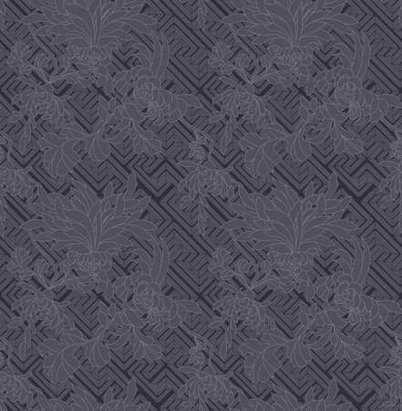 aster: Aster flower deep gray on geometric pattern.Seamless pattern.