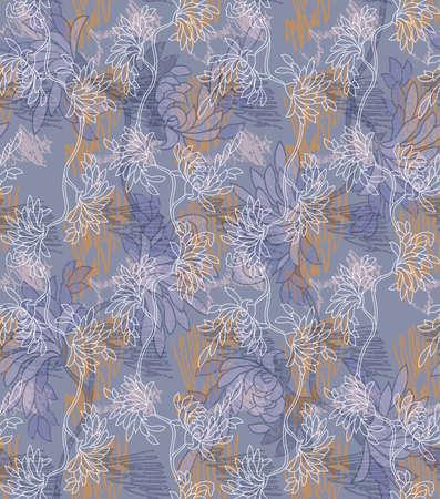 落書きとアスターの花青。シームレス パターン。  イラスト・ベクター素材