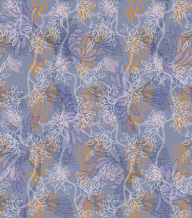 aster: Aster flower blue with scribble.Seamless pattern. Illustration