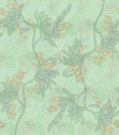 落書きとアスターの花緑。シームレス パターン。