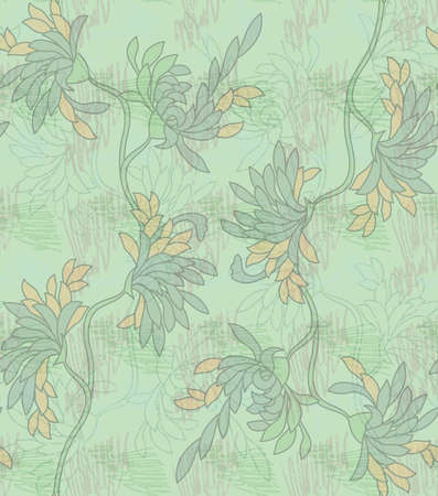 aster: Aster flower green with scribble.Seamless pattern.