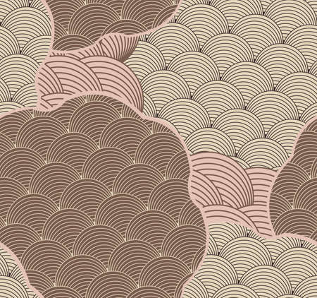 Striped arcs cut in shapes brown.Hand drawn seamless background. Creative handmade design for fabric textile fashion. Japanese motives in vintage retro colors.
