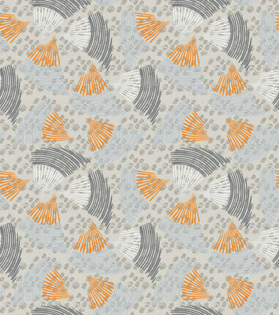 heather: Abstract sea shell heather textured.Hand drawn with ink seamless background.Creative handmade repainting design for fabric or textile.Geometric pattern made of striped triangular shapes.Vintage retro colors.